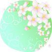 矢量花卉0050,矢量花卉,分层花纹,花朵 花层 绿色