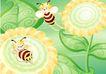花卉0025,花卉,分层花纹,两只 小蜜蜂 玩耍