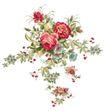 花纹边框0245,花纹边框,分层花纹,许多花 两朵大的 玫红色