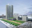 规划建筑0002,规划建筑,国内建筑设计案例,高楼 草皮 行人