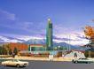 鸿恩寺公园会所0001,鸿恩寺公园会所,国内建筑设计案例,天空 街道 车子