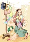 时尚女人0005,时尚女人,人物模板,短裙 丰满 拖鞋 挂架 蹲着