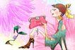 时尚女人0013,时尚女人,人物模板,包包 花背景 漫画人物 古典 典雅 鞋子 美颜 风情