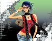 时尚女人0016,时尚女人,人物模板,帅气 妩媚 魅力四射 围巾 边框眼镜