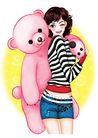 时尚女人0023,时尚女人,人物模板,布娃娃 可爱狗熊 眨眼