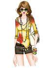 时尚女人0027,时尚女人,人物模板,眼镜 挂链 装饰口