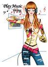 时尚女人0028,时尚女人,人物模板,麦克风 耳机 听音乐