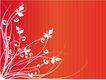 创意图案0071,创意图案,前卫设计,白色 花草 红底
