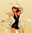 女人与花0022,女人与花,前卫设计,MP3 耳机 扭动 翘着 沉醉