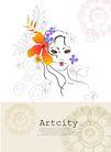 女人与花0035,女人与花,前卫设计,女性 简画 面孔