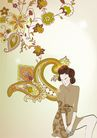 女人与花0048,女人与花,前卫设计,古典 发髻 着装