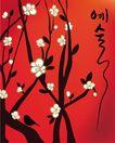 女人与花0062,女人与花,前卫设计,黑枝 梅花 小鸟