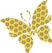 女人与花0072,女人与花,前卫设计,黄色 飞舞 蝴蝶