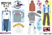 时尚流行服饰设计0007,时尚流行服饰设计,前卫设计,皮制品 T恤 羊毛衫 长裤 图文
