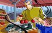 商业艺术插图0045,商业艺术插图,插画,小孩子 水果超市 称重