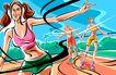 商业艺术插图0054,商业艺术插图,插画,溜冰 溜冰鞋 旱冰