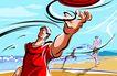商业艺术插图0058,商业艺术插图,插画,球场 沙滩排球 沙滩