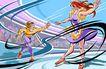 商业艺术插图0064,商业艺术插图,插画,女子 花样 滑冰
