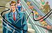 商业艺术插图0067,商业艺术插图,插画,电梯 上下 公务