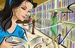 商业艺术插图0084,商业艺术插图,插画,图书馆 翻阅 书籍