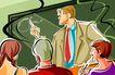 商业艺术插图0095,商业艺术插图,插画,黑板 课堂 讲解