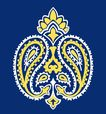 饰角素材0044,饰角素材,纹理边框,冠状 花纹 蓝底
