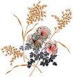 PSD花纹10054,PSD花纹1,花纹图案,花穗 叶团 拽动