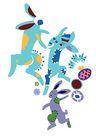 PSD花纹10077,PSD花纹1,花纹图案,兔子 舞蹈 活力