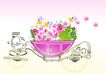 PSD花纹10082,PSD花纹1,花纹图案,花篮 盛满 鲜花
