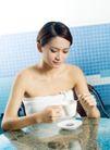 女性休闲0046,女性休闲,休闲,搅拌咖啡 雪白肌肤