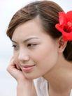 美丽SPA0032,美丽SPA,休闲,沉思 头戴红花