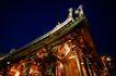东方民俗庙宇0012,东方民俗庙宇,文化,夜间 庙檐 门雕