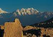 西藏风光0006,西藏风光,文化,土墙 残壁 山脉