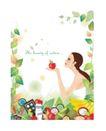 人物0125,人物,东方设计元素,手托 偷食 苹果