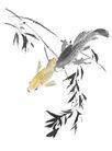 古典花卉底纹0093,古典花卉底纹,中国古典画,鱼 国画 古典