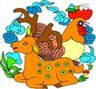 失量古典图案0159,失量古典图案,中国古典画,幼小 梅花鹿 公鸡