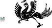 失量古典图案0160,失量古典图案,中国古典画,黑色 凤凰 行走