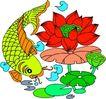 失量古典图案0162,失量古典图案,中国古典画,金鲤 浮游 莲花池