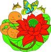 失量古典图案0173,失量古典图案,中国古典画,莲蓬 芳香 引蝶