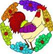 失量古典图案0174,失量古典图案,中国古典画,公鸡 打鸣 红冠