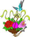 失量古典图案0178,失量古典图案,中国古典画,蓝鸟 口衔 花篮