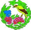 失量古典图案0183,失量古典图案,中国古典画,草环 鸣叫 绿毛鸟