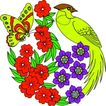 失量古典图案0184,失量古典图案,中国古典画,黄蝶 鸟头 后顾