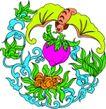 失量古典图案0186,失量古典图案,中国古典画,口含 紫桃 送福