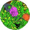 失量古典图案0187,失量古典图案,中国古典画,椭圆 草丛 花团