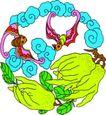 失量古典图案0195,失量古典图案,中国古典画,云彩 叶子 鸟儿