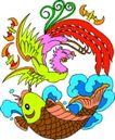 失量古典图案0198,失量古典图案,中国古典画,孔雀开屏 鱼儿 金鱼