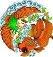 失量古典图案0199,失量古典图案,中国古典画,乌龟 孔雀 鲜艳