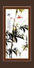 梅兰竹菊0004,梅兰竹菊,中国古典画,竹林 飞鸟 鸣叫
