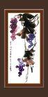 梅兰竹菊0032,梅兰竹菊,中国古典画,紫葡萄 蓝葡萄 葡萄籽
